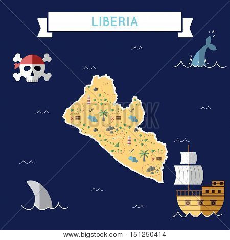 Flat Treasure Map Of Liberia. Colorful Cartoon With Icons Of Ship, Jolly Roger, Treasure Chest And B
