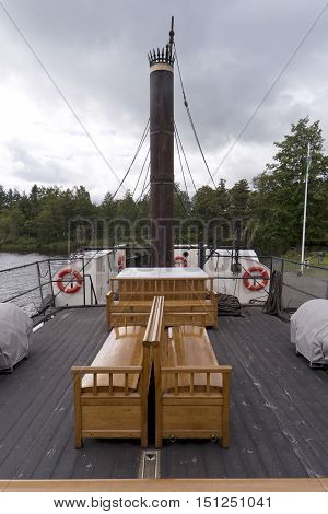 Forsvik, Sweden - August 11, 2016: Detail Of The Paddle Steamer Eric Nordevall Ii In The Industrial