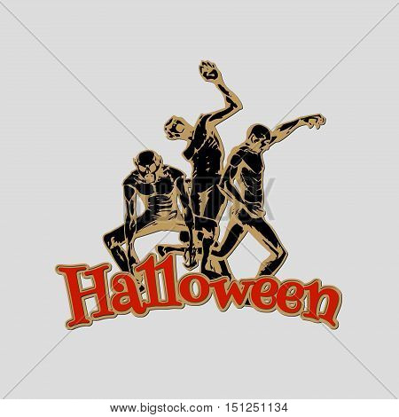 Zombie sticker. Illustration of zombies in different poses with Halloween red text. Emblem isolated on the white background. Vector