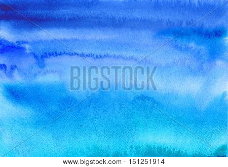 Blue air watercolor banner. Hand painted blue sky and clouds. Abstract background. Ink spreading. Blur. Sea. Streaks, water, aqua, waves.