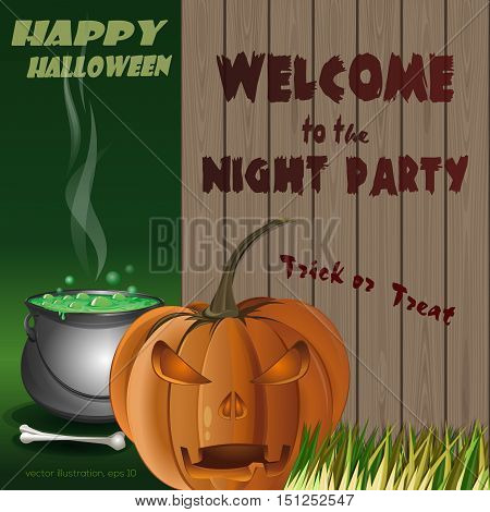 Happy Halloween Poster. Jack-o'-lantern on a background of a wooden fence and magic cauldron. Vector illustration