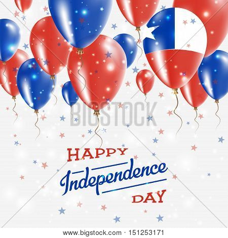 Chile Vector Patriotic Poster. Independence Day Placard With Bright Colorful Balloons Of Country Nat