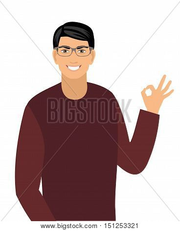 vector illustration of a young man showing okay sign