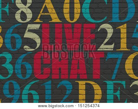 Web design concept: Painted red text Live Chat on Black Brick wall background with Hexadecimal Code