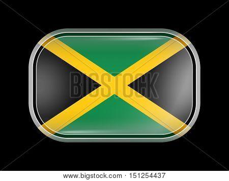 Flag Of Jamaica. Rectangular Shape With Rounded Corners