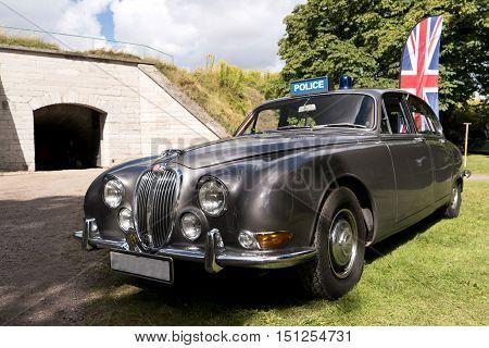 Karlsborg, Sweden - August 14, 2016: Classic British Car On The British Motor Met In Karlsborg Fortr