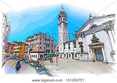 Venice - Campo S.Maria Formosa. Ancient building & gondola. Vector drawing