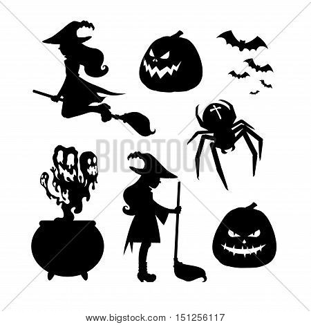 Set of Halloween silhouettes. A witch with a broom witch flying on a broom evil pumpkin cauldron potion flock of bats spider with a cross.