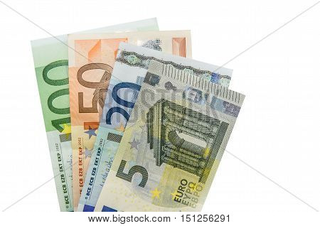Stack of Euro banknote isolated on white