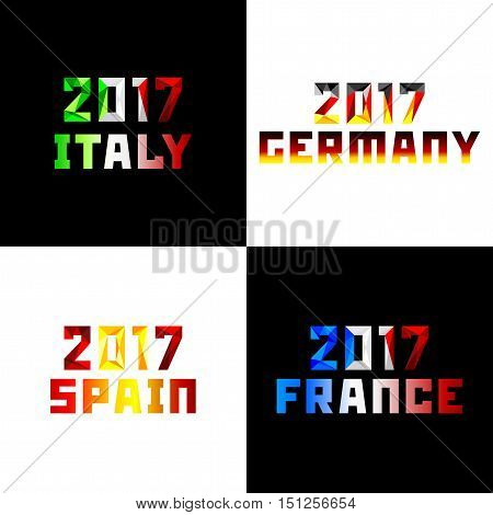 2017 Numerals of new year 20-17 in style of polygons is painted colors of national flags of European countries Italy Germany Spain France. Vector clipart fully editable and infinitely scalable