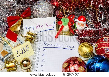 New Year's resolutions - money, toys, 2017