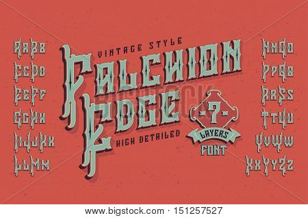 Vintage style font. Retro typeface named