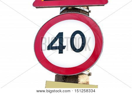 A road sign indicating as 40 speed limit