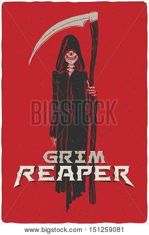 Grim reaper hand drawn grunge vector illustration