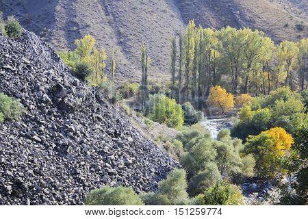 collapse of basalt columns in Armenia Garni