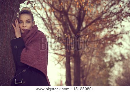 Beautiful young blond leaning on a tree on an autumn day looking at the distance pensive