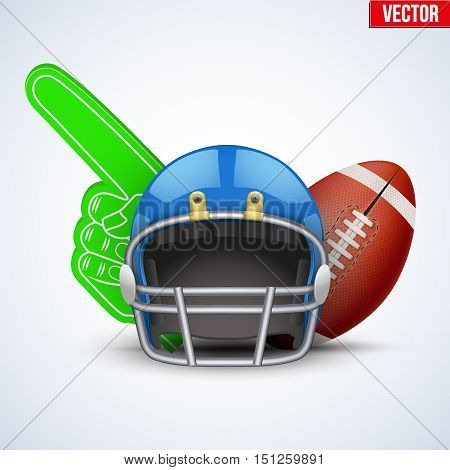 American Football Symbol. Football helmet and ball with Fan Finger isolated on white background. Vector Illustration.