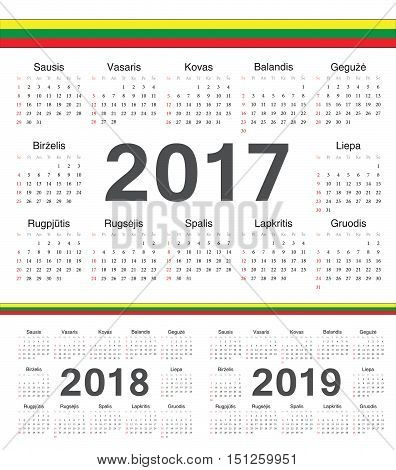Vector Lithuanian Circle Calendars 2017, 2018, 2019