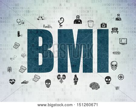 Healthcare concept: Painted blue text BMI on Digital Data Paper background with  Hand Drawn Medicine Icons