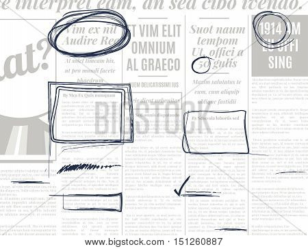 Gray pencil marker text selection vector set on old newspaper