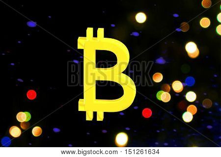 The Bitcoin sign on colorfull circles. 3D rendering.