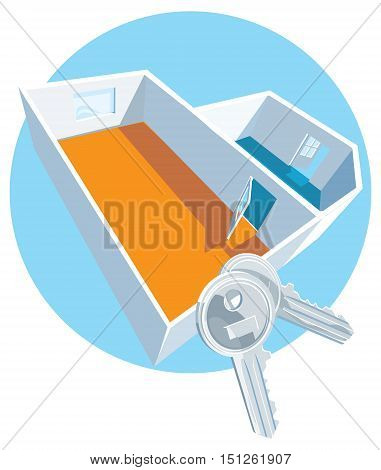 House keys with apartment 3D view icon