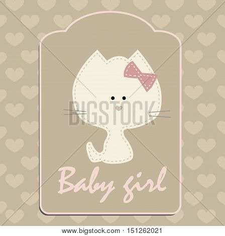 cute baby background for girl with a kitten. Pattern for greeting or invitation. Baby shower or arrival. Baby vector illustration