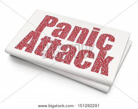 Medicine concept: Pixelated red text Panic Attack on Blank Newspaper background, 3D rendering