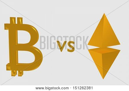 Bitcoin and Ethereum signs . 3D rendering.