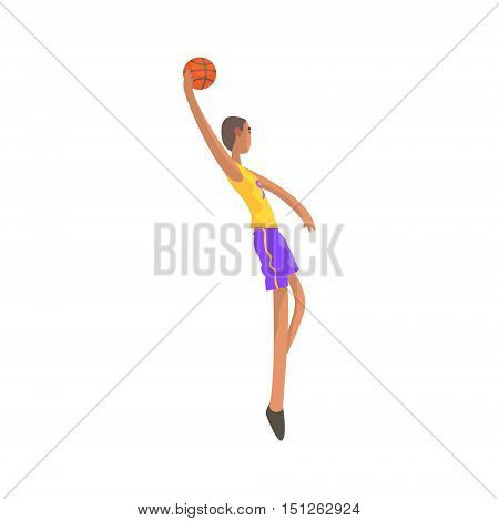 Very Tall Basketball Player Action Sticker. Childish Cartoon Character In Cute Design Isolated On White Background