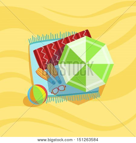 Mask, Fins, Ball And Umbrella Spot On The Beach Composition. Place On The Sand With Vacation Attributes From Above Bright Color Vector Illustration.