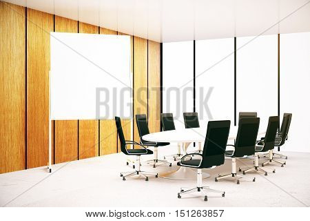 Modern conference room interior wth blank whiteboard. Mock up 3D Rendering