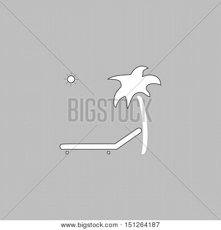 Deck chair Simple line vector button. Thin line illustration icon. White outline symbol on grey background