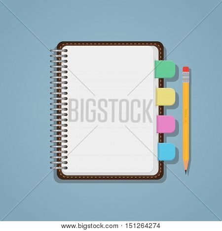 Flat realistic blank notebook with colorful bookmarks and pencil.