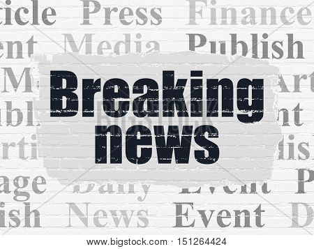 News concept: Painted black text Breaking News on White Brick wall background with  Tag Cloud
