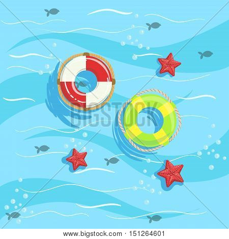 Two Ring Buoys With Blue Sea Water On Background. Beach Vacation Related Illustration Drawn From Above In Simple Vector Cartoon Style.