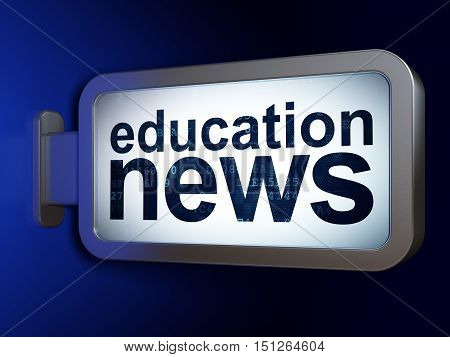 News concept: Education News on advertising billboard background, 3D rendering