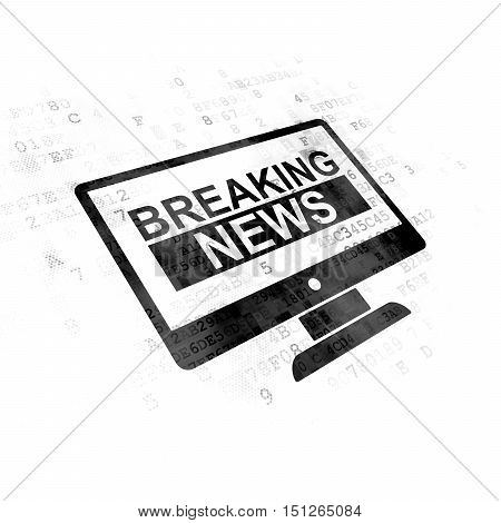 News concept: Pixelated black Breaking News On Screen icon on Digital background