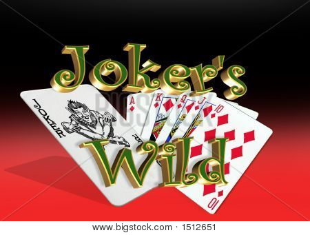 Jokers Wild Winning Poker Hand Red