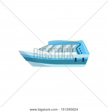 White Modern Motor Type Of Boat Icon. Simple Vector Illustration Isolated On White Background