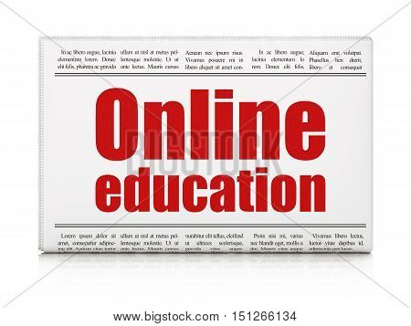 Studying concept: newspaper headline Online Education on White background, 3D rendering