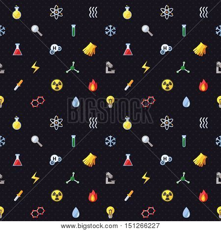 Science vector seamless pattern. Chemistry Physics and Biology. Modern flat design.