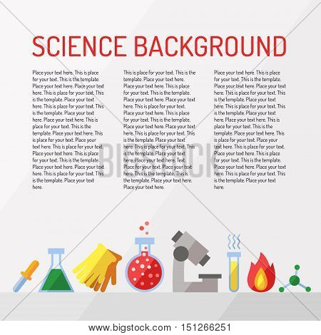 Science vector background with place for your text. Chemistry Physics and Biology. Modern flat design. Template.