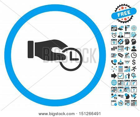 Clock Properties Hand pictograph with bonus calendar and time management clip art. Glyph illustration style is flat iconic bicolor symbols blue and gray colors white background.