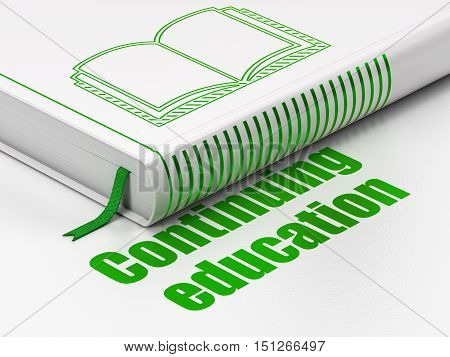 Education concept: closed book with Green Book icon and text Continuing Education on floor, white background, 3D rendering