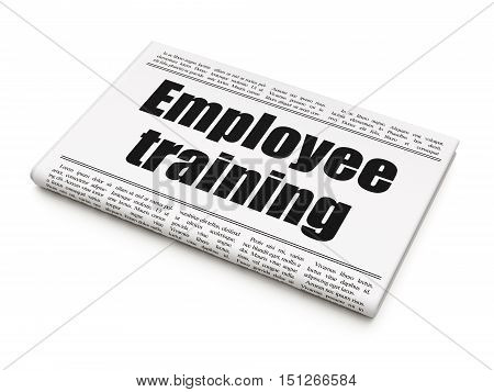 Education concept: newspaper headline Employee Training on White background, 3D rendering