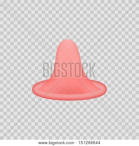Open latex condom over white background. Realistic 3d illustration. Condom without pack. Rolled-up condom icon or sign isolated. Contraceptive method.