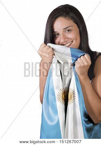 A Girl With Love Holding A Flag Of Argentina