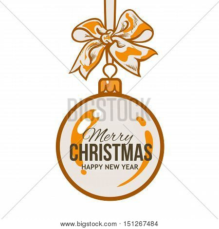 Christmas ball with orange ribbon and bow, vector greeting card template with white background. Shiny Christmas decoration ball of solid orange color, greeting card template for Christmas New Year Eve