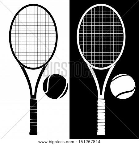 Tennis racket with ball. Black and white icon. Vector illustration